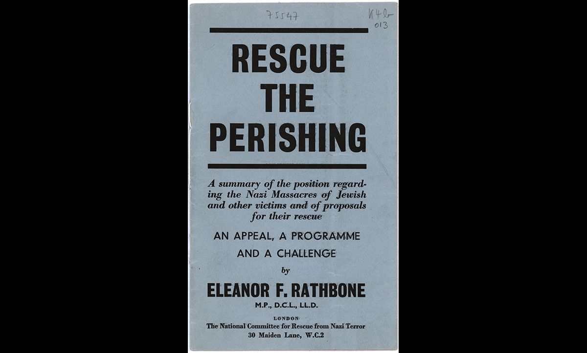 This leaflet, entitled 'Rescue the Perishing', was published by British MP Eleanor Rathbone in May 1943. The pamphlet urged the British public to show support and sympathy of the victims of Nazism, following reports of their mass murder. Despite Rathbone's efforts, there were no major rescues attempted following the publication of this pamphlet.