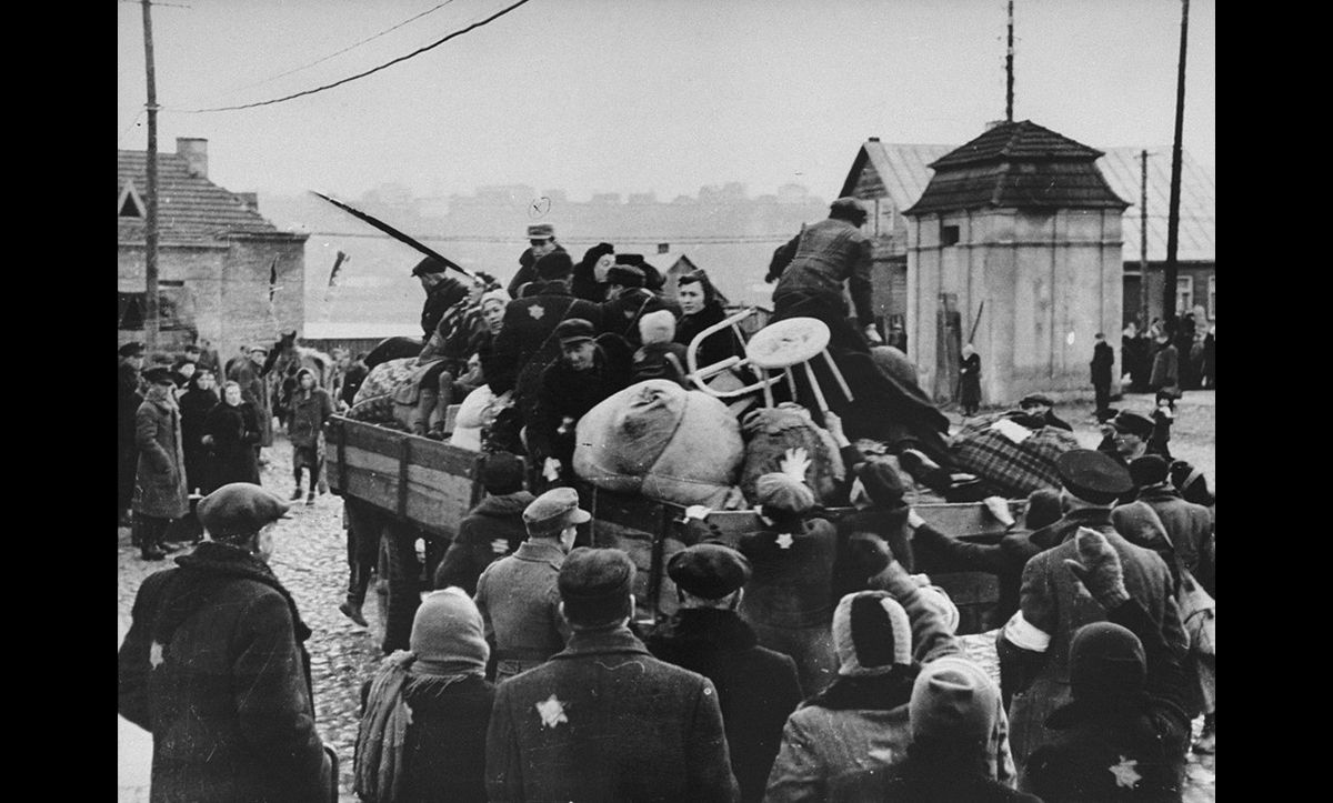 Jews from the Kovno ghetto being deported the Koramei concentration camp in Estonia. Among those pictured on the truck are Moishe Fishel, Chana, Jankel, Esther and Chaim Miszelski and Eli, Sima and Boris Rochelson.
