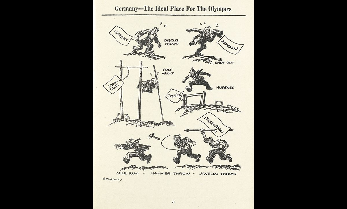 This cartoon was published in a pamphlet entitled 'Preserving the Olympic Ideal, A Statement of the Case Against American Participation in the Olympic Games at Berlin' by the Committee on Fair Play in Sports in 1935. It aimed to strengthen support for boycotting the Olympic Games on the basis of the Nazis persecution of the Jews.