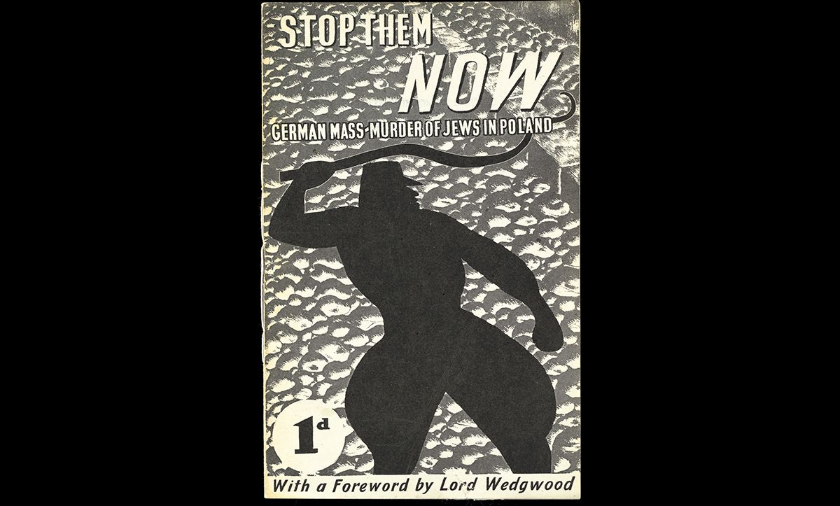 This pamphlet, entitled 'Stop Them Now – German Mass Murder of Jews in Poland' was published by Szmul Zygielbojm, a Polish Jewish politician and refugee, in September 1942. The pamphlet contains reports of the Nazi atrocities from the Polish underground movements and eyewitness reports from Polish citizens. Zygielbojm hoped that the pamphlet would raise awareness of the atrocities and therefore inspire action to help save the Polish Jews.