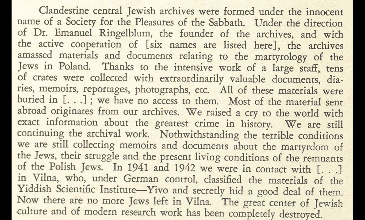 In this extract, Ringelblum describes the formation and activities of the Oneg Shabes archive.