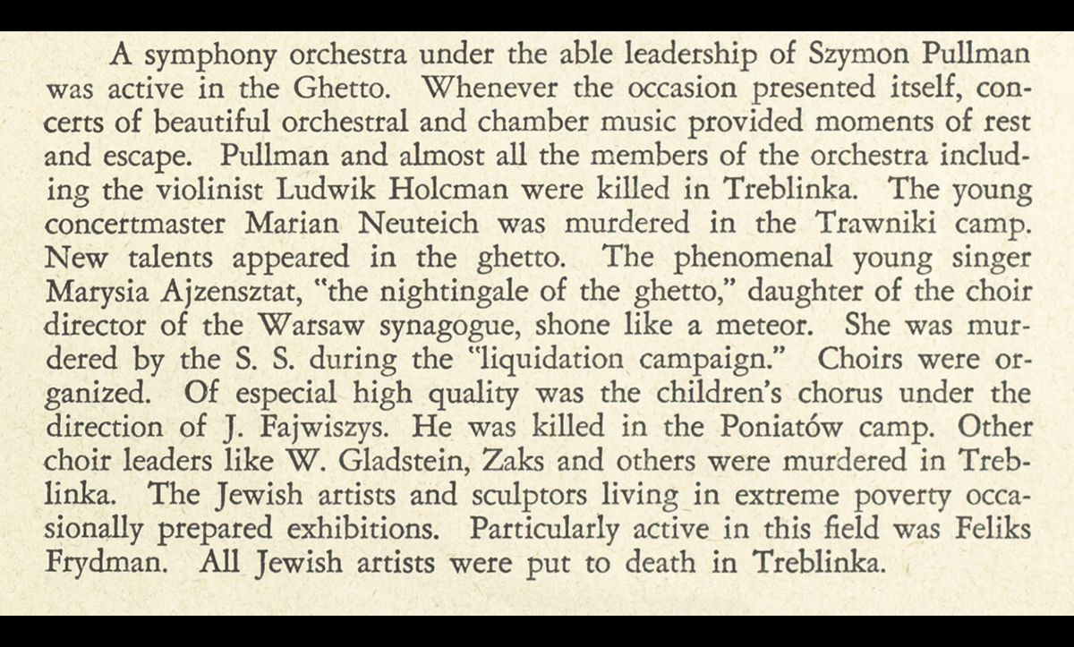 Here, Ringelblum describes other resistance activities in the Warsaw Ghetto, such as the orchestra.