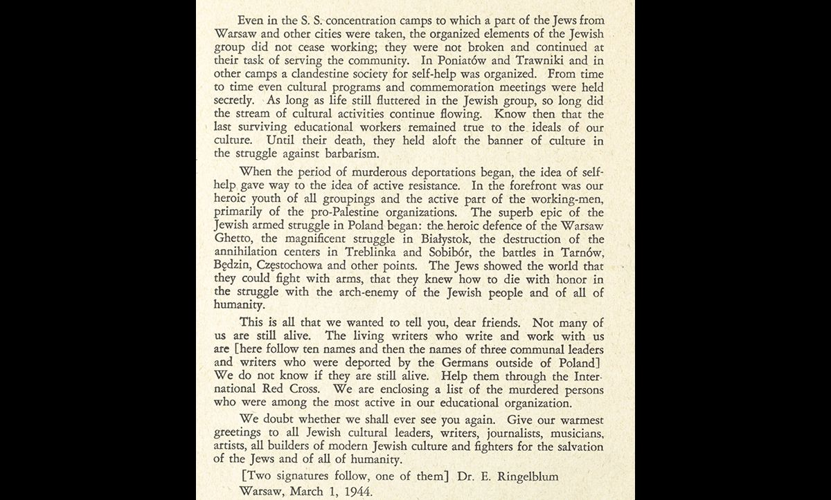 A translation of a letter sent by Emanual Ringelblum to the Yiddish Scientific Institute (YIVO) on 1 March 1944. Here, Ringelblum describes several of the armed uprisings that took place across Nazi-occupied Europe.