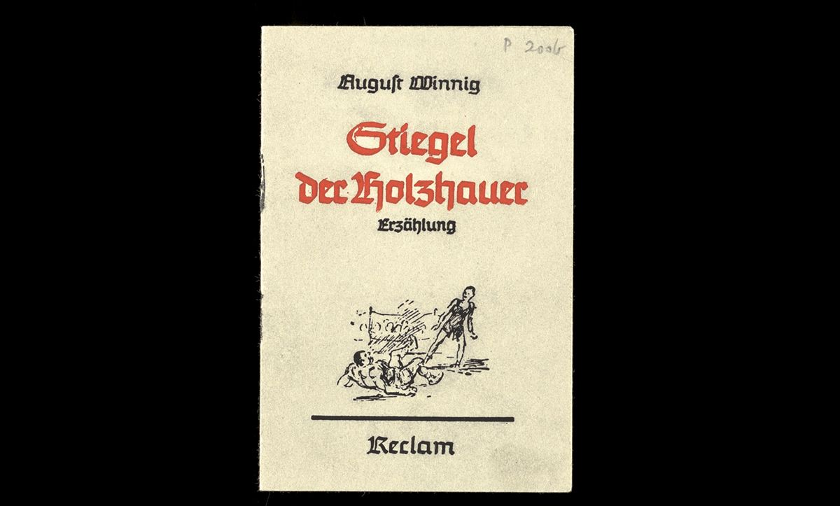 This pamphlet, entitled 'Stiegel der Holzhauer: Erzählung', is an example of Tarnschriften published by August Winnig in Leipzig in 1943. Inside it provides the reader with a guide on how to fake illnesses to reduce productivity.