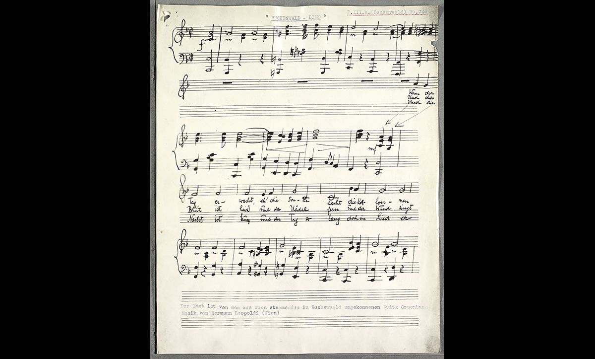 The sheet music for the Buchenwald Camp Song composed in 1938 by prisoners Hermann Leopoldi and with lyrics by Fritz Gruenbaum.  The song was composed at the request of the SS camp leader, Arthur Rödl. It was typically sung during roll call.