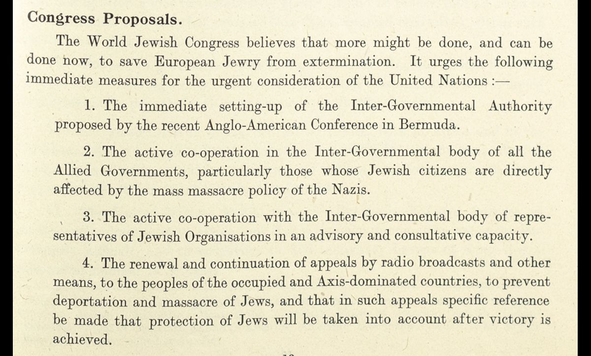 In the conclusion of the pamphlet, the World Jewish Congress issued a plea for more to be done to help Jews being murdered in Eastern Europe, suggesting some of the measures detailed here.