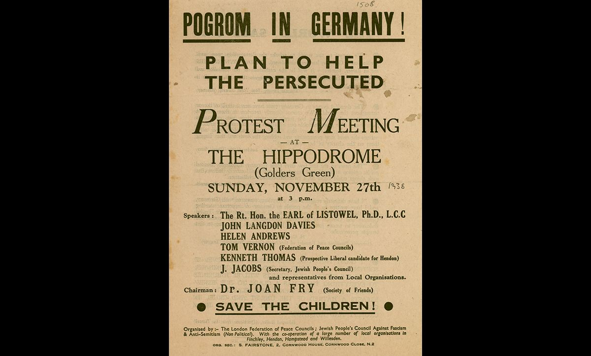 Following the shock and horror of Kristallnacht, several local community groups came together to organise events to help those being persecuted, such as this protest meeting which took place in Golders Green.