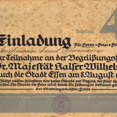 An invitation to Ludwig Neumann's father Emil and family to participate in celebrations for Kaiser Wilhelm II in Essen on 8 August 1912.