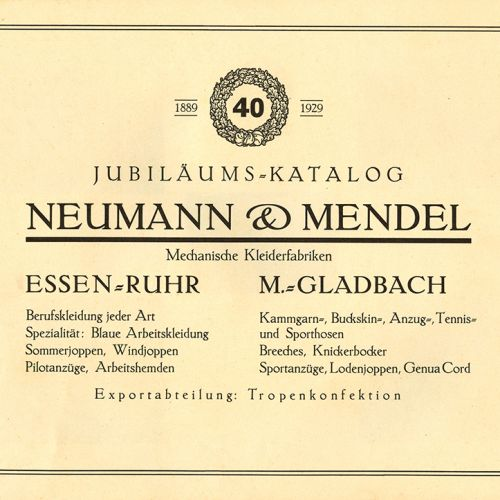 A page from the 40th anniversary catalogue of the clothing company Neumann and Mendel.