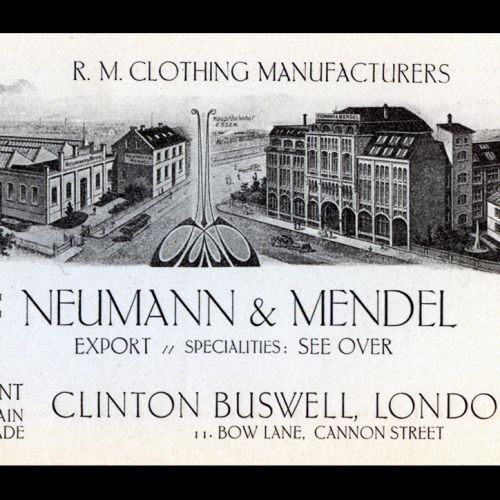 Ludwig Neumann's father, Emil, owned a German clothing manufacturing business called Neumann and Mendel. In the mid-1920s, Ludwig took over the management and ownership of the firm, after his father's death. This is a flyer advertising the firm's export business in Britain.