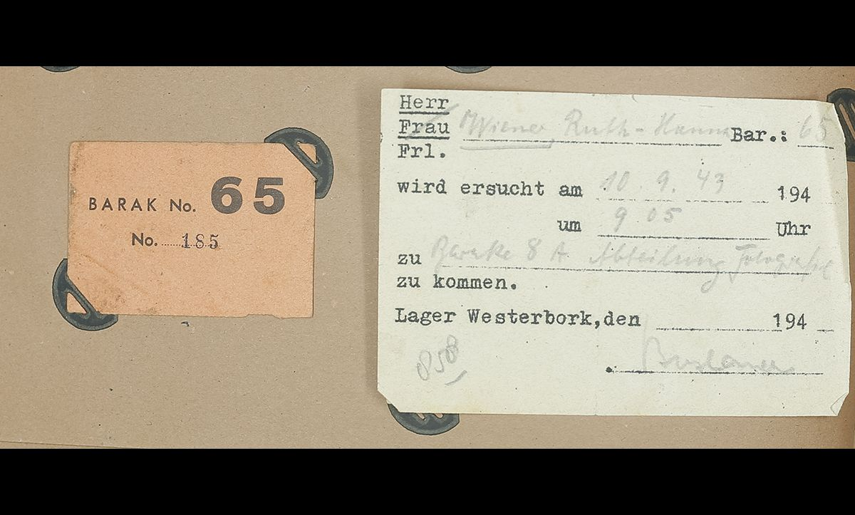 Documents assigning Ruth Wiener to barrack number 65 and work in Westerbork in September 1943.