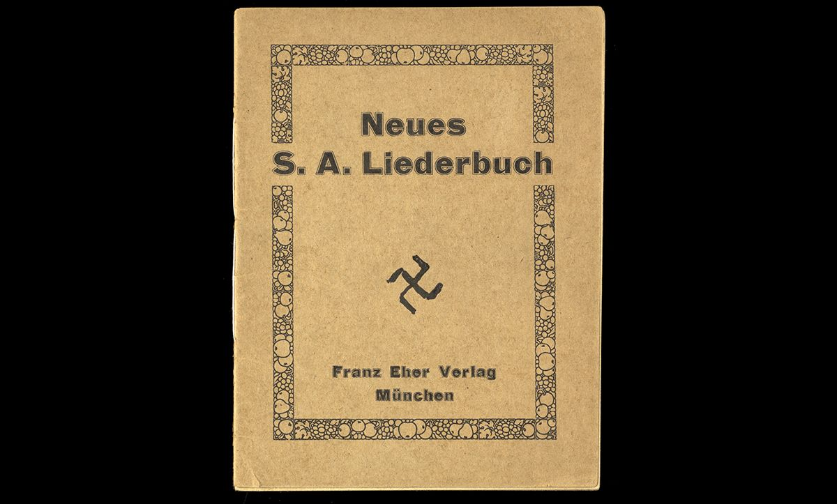 In Nazi Germany, Tarnschriften (anti-Nazi or illegal pamphlets camouflaged as everyday publications) were used to resist Nazi rule and spread opposition. This pamphlet, published in 1934, contained anti-Nazi jokes and humour. To avoid detection and allow for easy distribution, it was disguised as a SA songbook, and even pretended to be published by Franz Eher Nachfolger – the central publishing house of the Nazi Party.