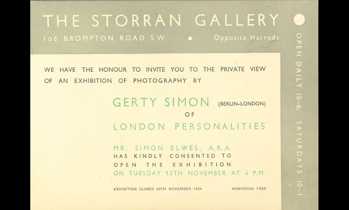 Once in Britain, Gerty Simon quickly re-established herself and continued to photograph high-profile individuals. This is an invitation to a private view of Gerty Simon's London Personalities exhibition in 1934 shortly after she emigrated to London.