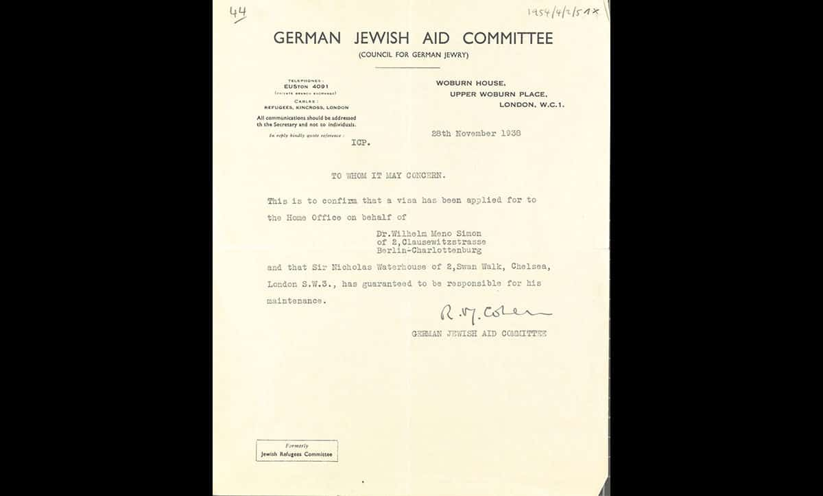 A Jewish Aid Committee sponsorship document for Gerty Simon's husband, Wilhelm Meno Simon, 1939. From May 1938, refugees from Nazism generally needed either sponsorship of £50 or a job offer in Britain in order to come. Wilhelm Simon was sponsored by Sir Nicholas Waterhouse of 2 Swan Walk, Chelsea.