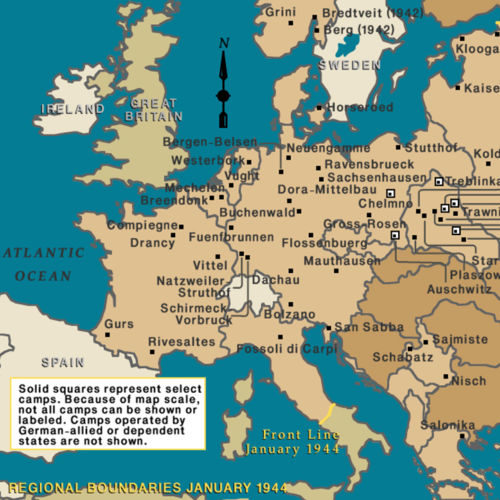 This map shows the major Nazi camp in Europe between 1943-1944.