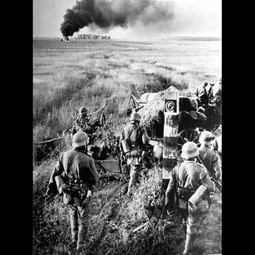 German troops crossing the Soviet border on 22 June 1941 as part of Operation Barbarossa.