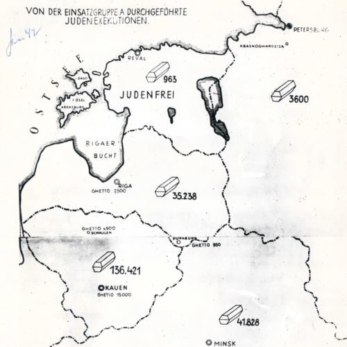 This map indicates the number of Jews murdered by the Einsatzgruppen (killing squads which followed the German army) in each country. The map shows modern day Belarus, at the bottom, then continuing clockwise, Lithuania, Latvia, Estonia, and Russia.  This map featured as part of the Stahlecker report and was used in the Nuremberg War Crimes Trials.