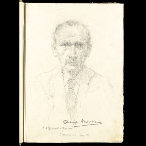 A portrait of Philipp Manes from the journal that Manes kept in the Theresienstadt ghetto.