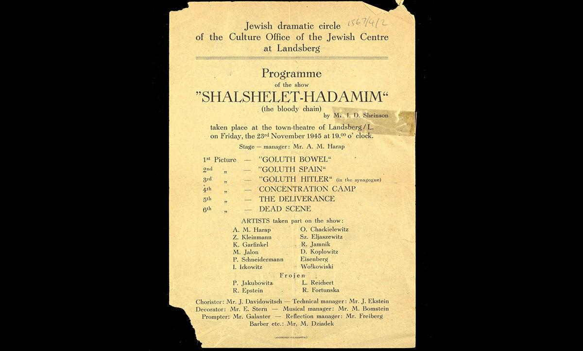 A programme for a play produced by the inhabitants of Landsberg Displaced Persons Camp. The play was entitled 'The Bloody Chain' and performed in the camp on 23 November 1945.