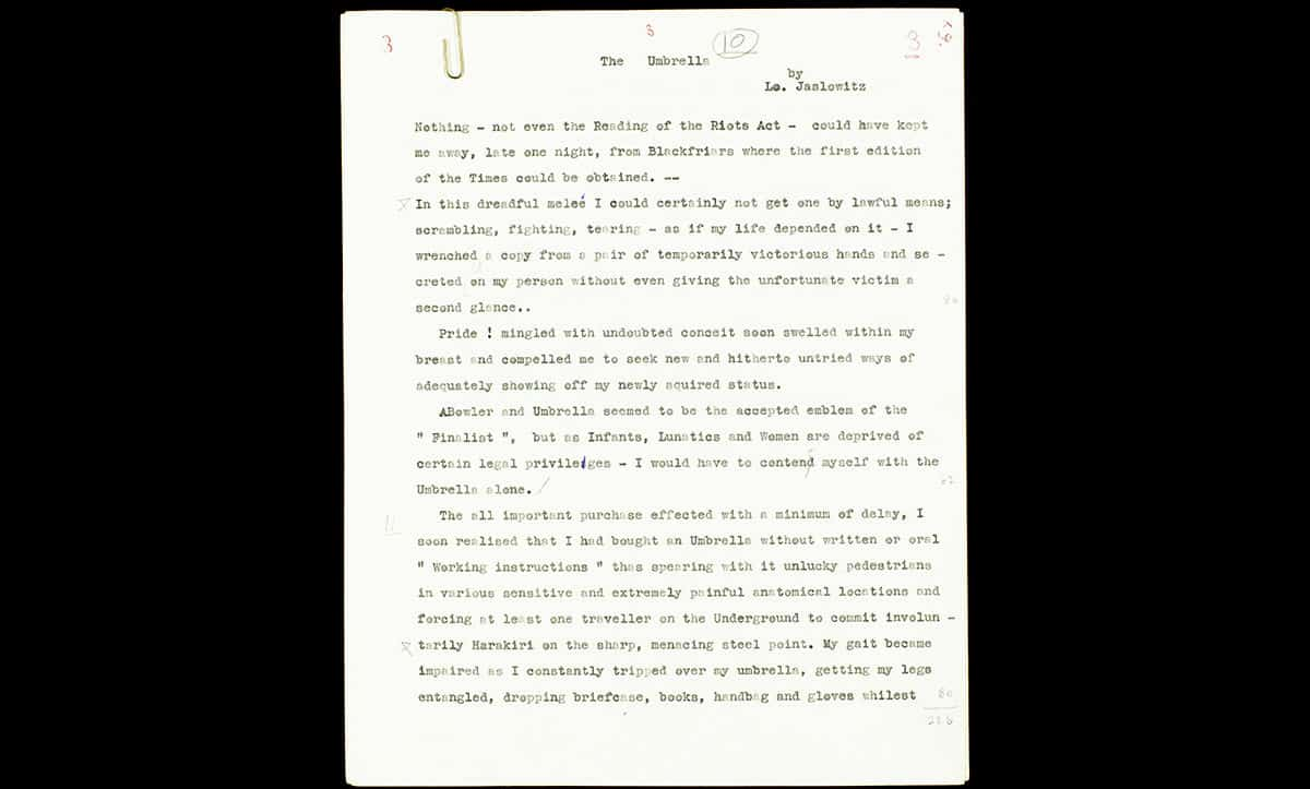 After the war, Lotte enjoyed writing and published several short stories. This excerpt is from a story entitled 'Umbrella'.