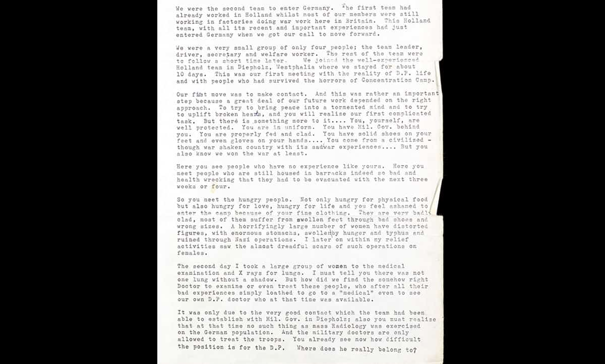 A report written by Senta Hirtz on her activities during her time as a Jewish Relief Unit field officer helping Displaced Persons in Celle.