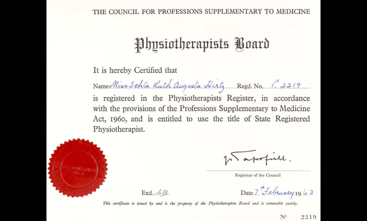 After the war, Senta Hirtz became a qualified physiotherapist. This certificate, confirming her registration with the physiotherapists board, was issued to her in 1963.