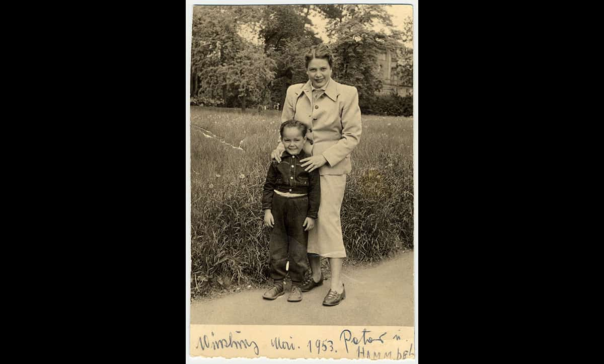 Theresia Seibel with her nephew, Peter Winterstein, in Würzburg in May 1953.