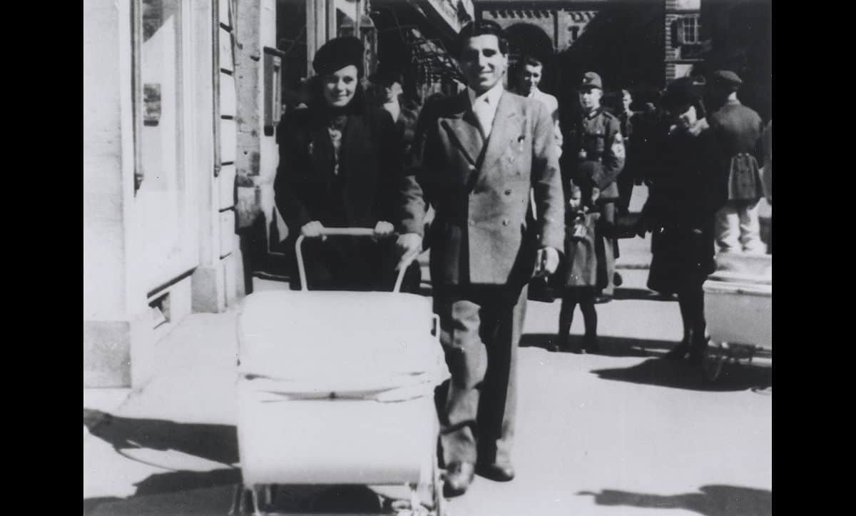 A photograph of Theresia and Gabriel, taken shortly after the birth of the twins in March 1943, walking in Würzburg under Nazi escort.