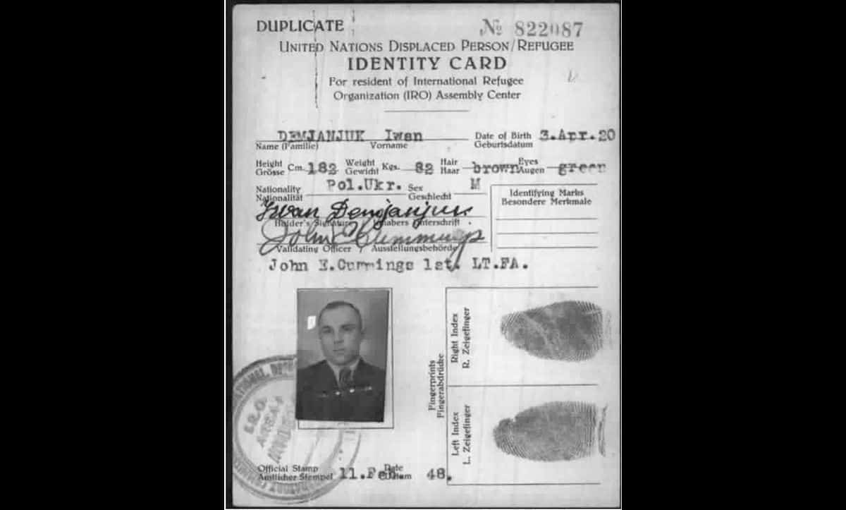 Demjanjuk was not prosecuted for his actions during the war until his extradition from America in 1986. In the immediate postwar period, Demjanjuk spent several years as a displaced persons (DP) in DP camps across Germany. This is his identification card from this period, issued by the International Refugee Organisation on 11 February 1948.