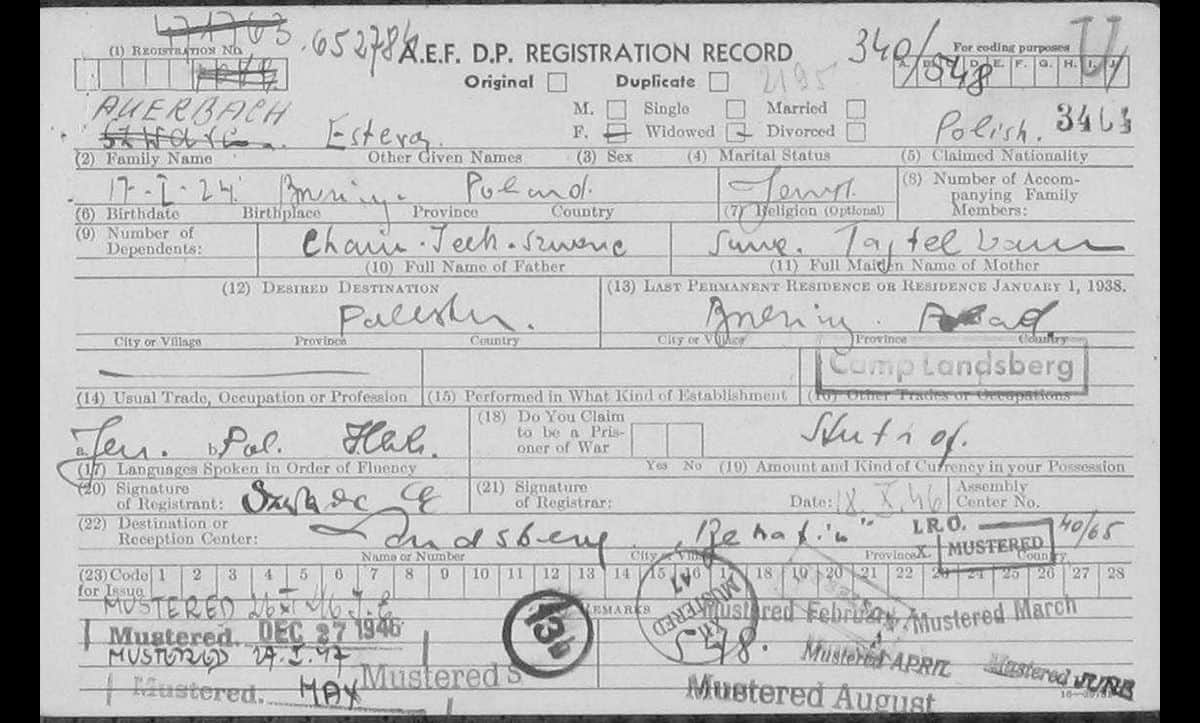 The DP registration card of Estera Auerbach, a young Polish Jew who lived In Landsberg DP camp in 1946. At the time this card was created, she wanted to emigrate to Palestine.