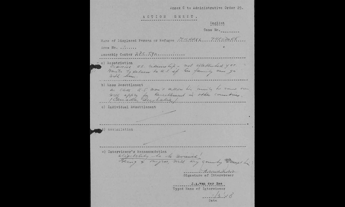 After the war, Michael applied to leave Germany and move to the US. This note, made by a United Nations interviewer at the end of an interview about his emigration, states 'being a Negro, will any country accept him?'. The comment evidences the ongoing racism faced by Black people in the postwar world.