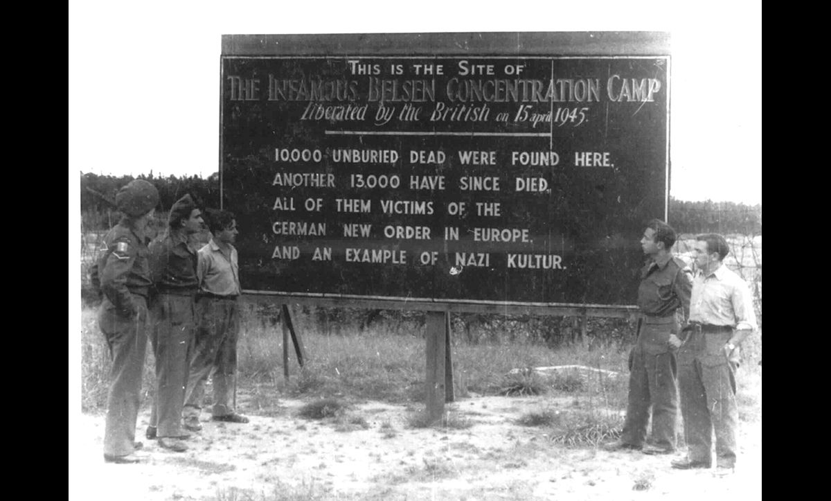 This sign was erected at the site of Bergen-Belsen concentration camp after its liberation in the summer of 1945. In total, approximately 50,000 people died at Bergen-Belsen.