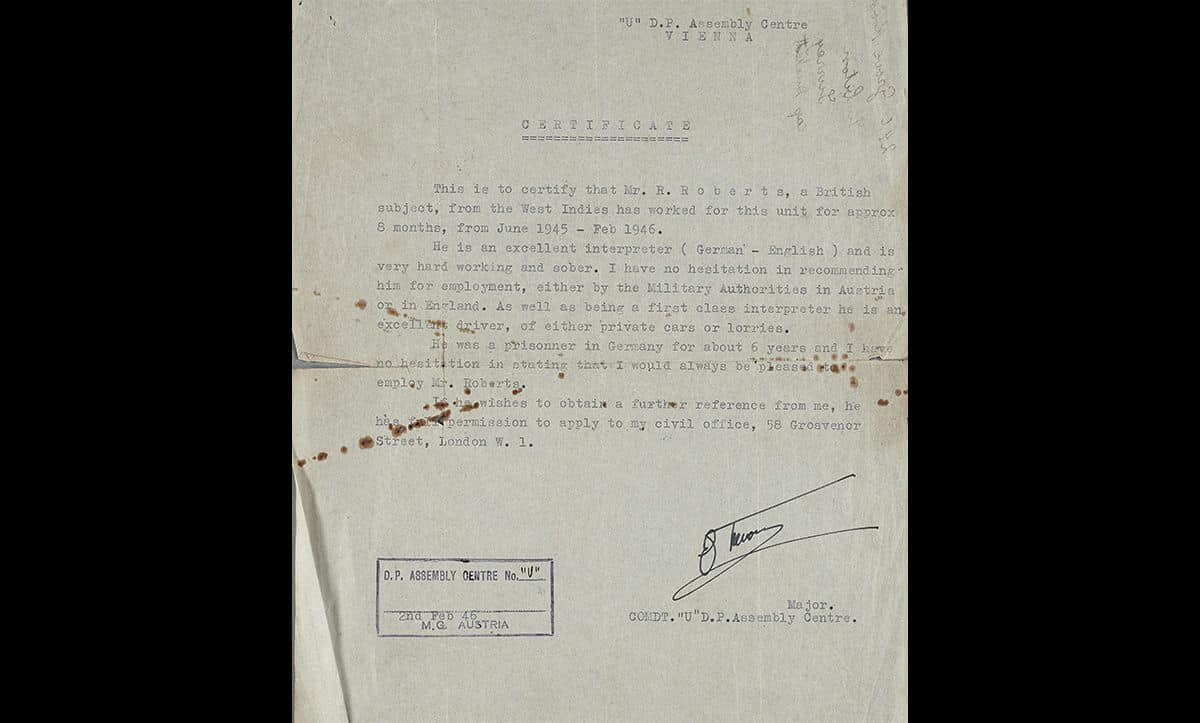 A reference for Ronnie Roberts after his work in DP camps in Austria between 1945 and 1946. The letter mentions Roberts imprisonment by the Nazis.
