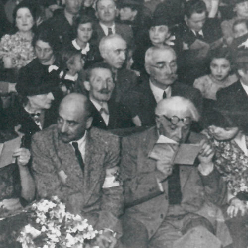 A musical evening in the Łódź ghetto, organised by the Jewish community, c1940-1943.