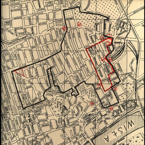 A map showing the battles in the Warsaw Ghetto, April 1943. It was published by the Yiddish Scientific Institute in 1944.