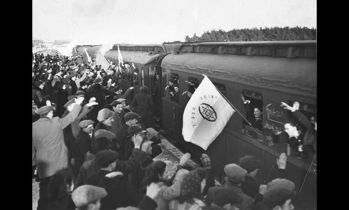 The first train with Jews bound for Palestine pulling out of Bergen-Hohne station in 1947. By 1951, 177,109 Jews had left Europe for Palestine.