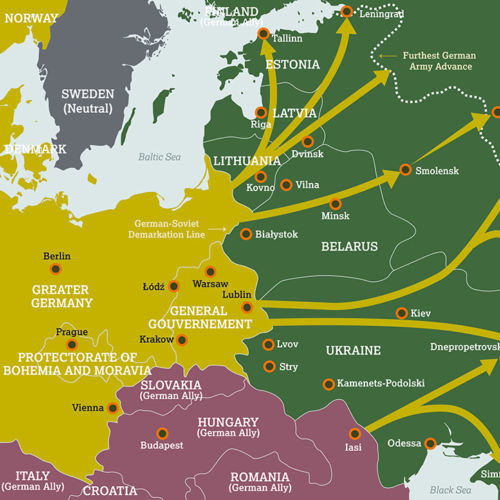 A map showing the Nazi invasion of the Soviet Union, 1941-1942.