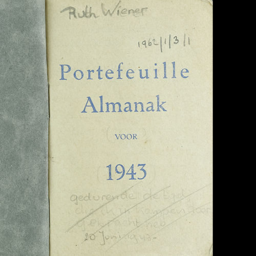 The diary of Ruth Wiener, c1943-1944. Ruth was imprisoned in Westerbork and Bergen-Belsen concentration camps with her mother and two sisters. She survived the war.