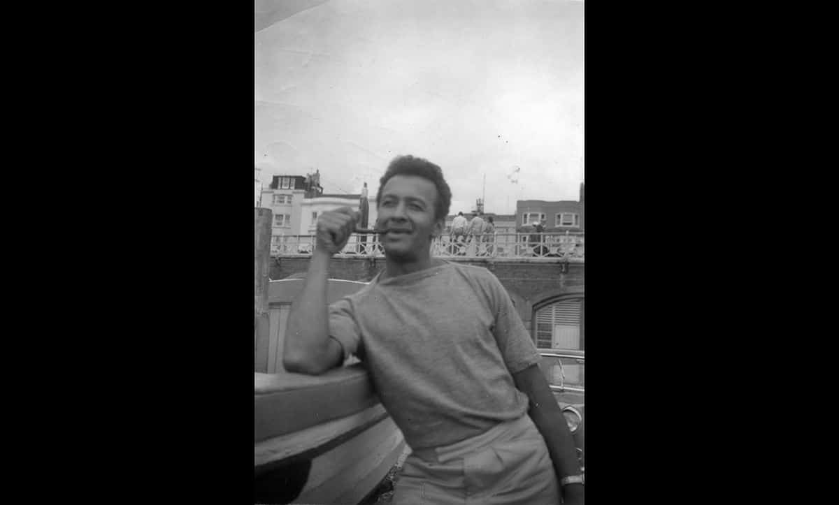 Ronnie Roberts at the seaside in England in c1960.