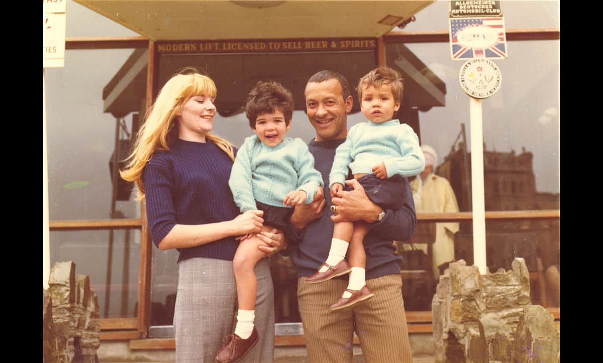 Ronnie and Carol Roberts with their children outside the entrance to the Hotel Cecil in the 1970s.