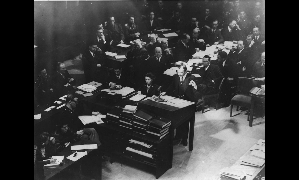 The United States' chief prosecutor Robert Jackson making his opening statement to the International Military Tribunal at Nuremberg in October 1945.