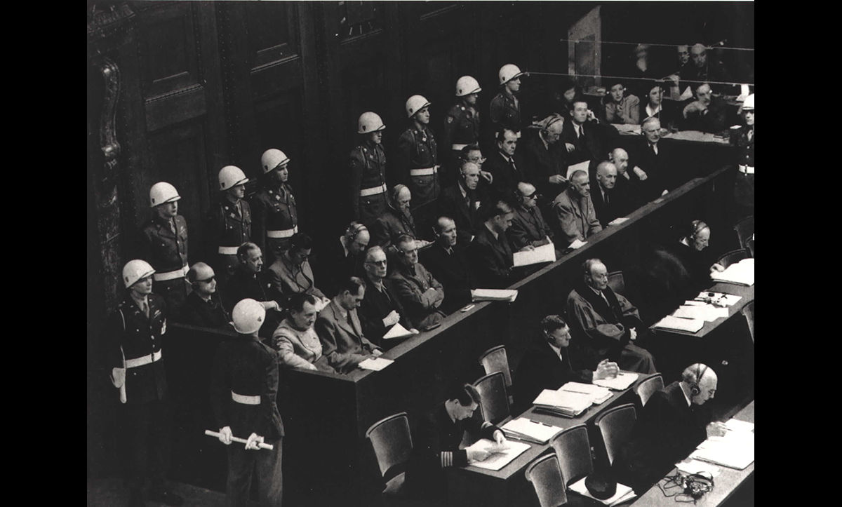 The accused at the Nuremberg Trial. The Nuremberg Trial was a trial which prosecuted the major Nazi war criminals for their crimes throughout the Second World War, including the Holocaust, in October-November 1946.