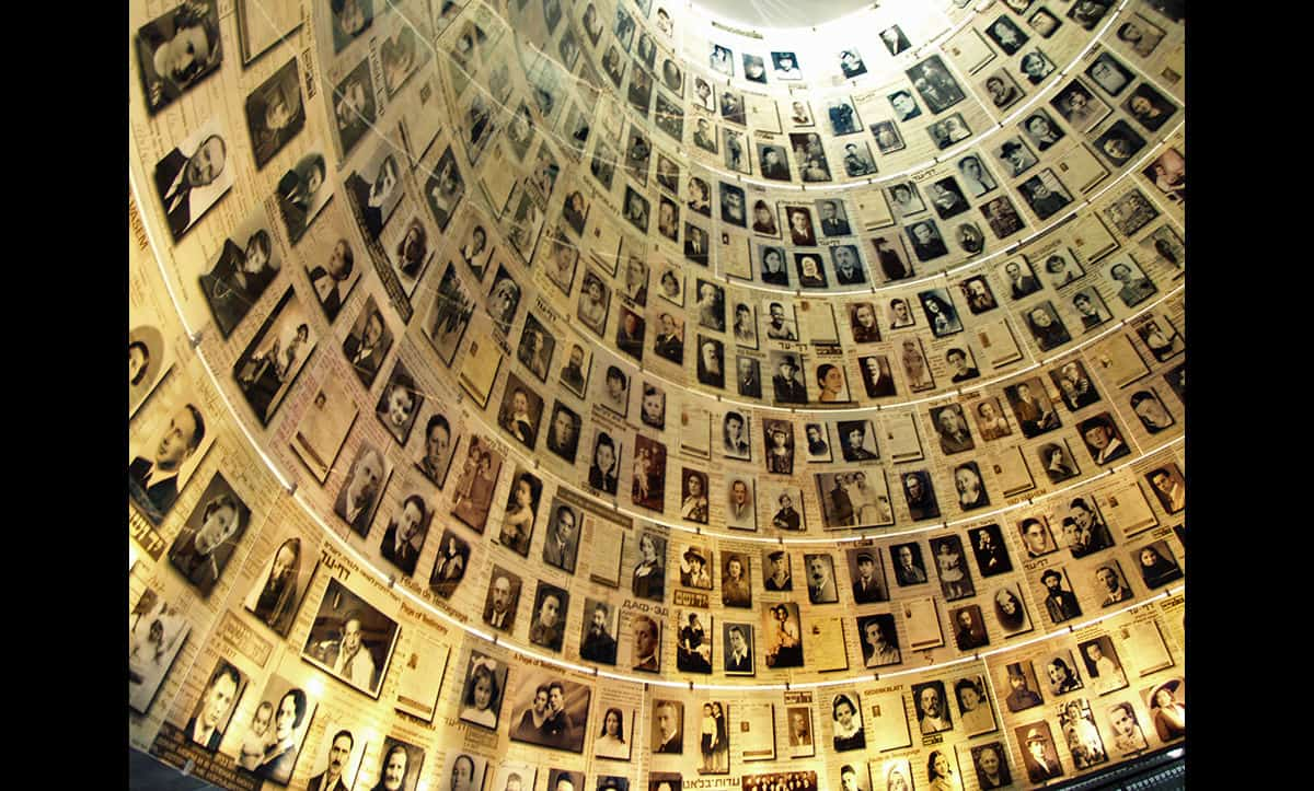 Yad Vashem, Israel's national Holocaust museum, is one of the world's largest Holocaust museums. Its founding in 1953 shortly after the establishment of Israel is evidence of the central role occupied by the Holocaust in Israeli society, with many survivors emigrating there after liberation. This photograph shows the museums 'Hall of Names'.