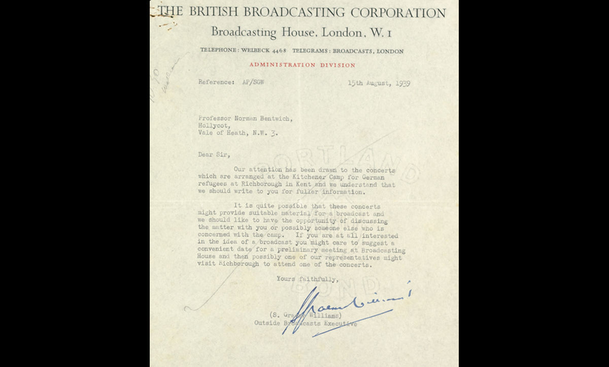 A lettter from the BBC to Professor Norman Bentwich in August 1939, enquiring about recording one of the popular Kitchener Camp orchestra's performances for a broadcast. The recording was halted by the outbreak of the Second World War.