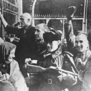 <p>On 27 January 1945, Soviet troops liberated the Auschwitz camp. They found just 7,000 remaining prisoners.</p>