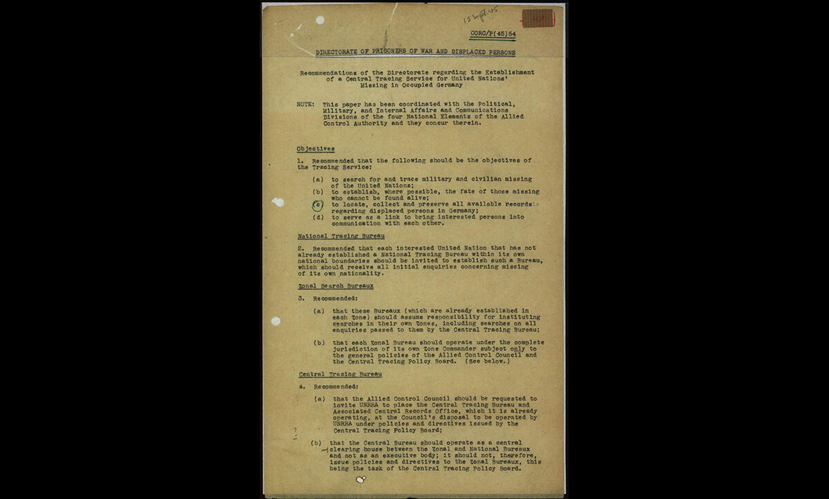 The ITS was created after the Allies centralised tracing and documentation efforts, recommending that the United Nations Relief and Rehabilitation Administration (UNRAA) run the organisation. This important document, known as the 'ITS Charter' sets out the relationship between the Central Tracing Bureau (as ITS was formerly known), the National Tracing Bureaux and zonal tracing bureaus.
