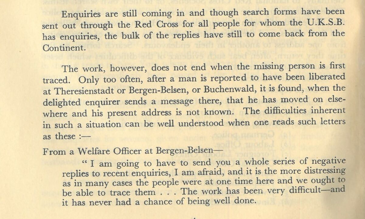 An extract from a pamphlet produced by the United Kingdom Search Bureau highlighting the difficulties and frustrations of early tracing efforts. c.1946.