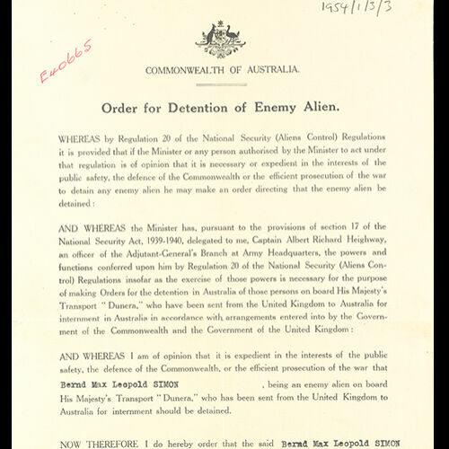 'Order for the Detention of Enemy Alien' issued to Bernard Simon, c. September 1940.