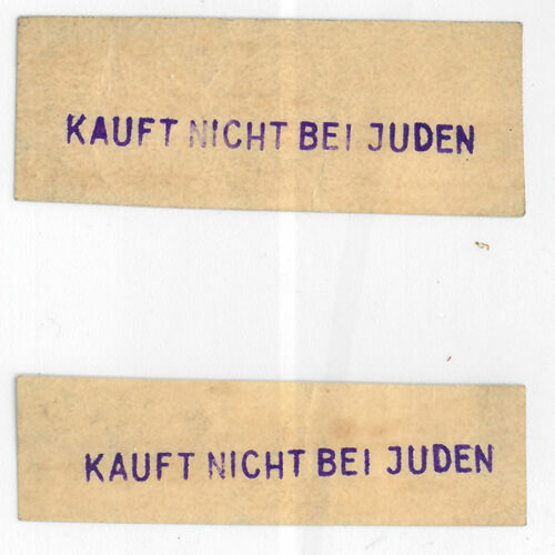 A label (c.1930s) stating 'do not buy from Jews'. This label was likely created to encourage Germans to boycott Jewish businesses.