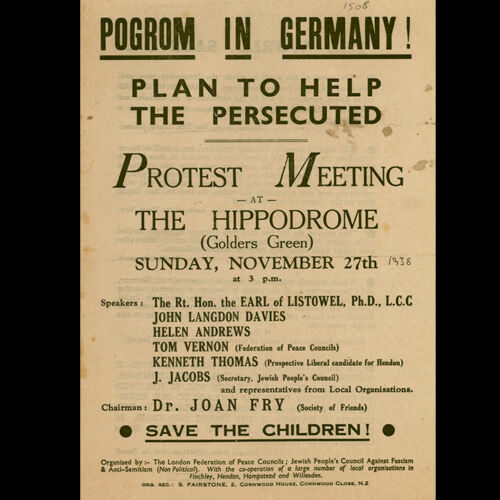 'A Plan To Help The Persecuted' leaflet, produced by the British Jewish community and organisations in North London following Kristallnacht, also known as the November Pogrom, in November 1938.